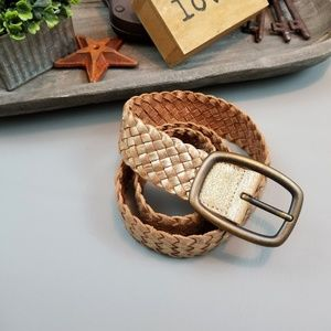 Fossil gold leather woven braided belt size S